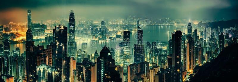 Panoramiczny strzał evening Hong kong zdjęcia royalty free