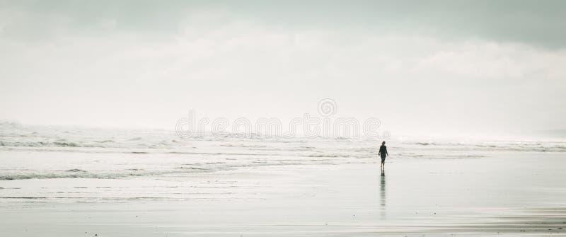 Panoramiczny strzał sylwetka kobieta w smokingowym odprowadzeniu na plaży z zadziwiającymi białymi chmurami zdjęcia stock