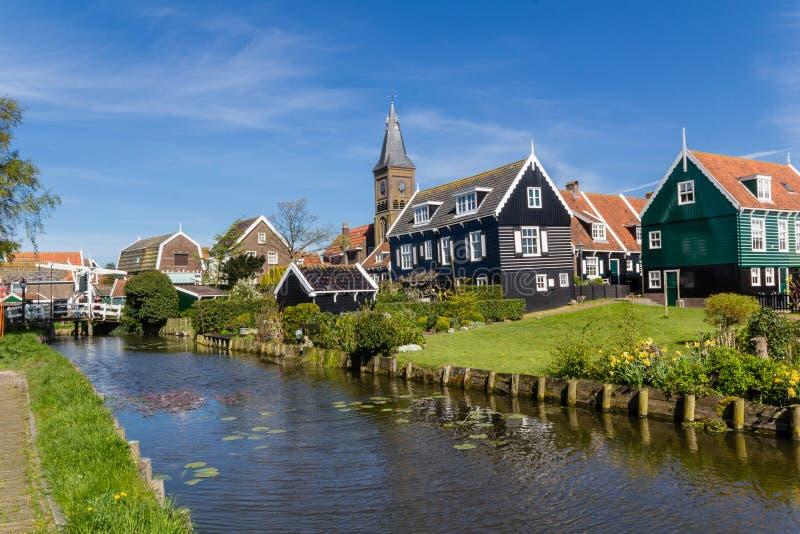 Panoramiczny strzał wioski Marken holandie fotografia stock