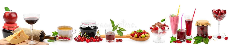 Panoramiczny szeroki kolaż dla skinali Owoc, napoje, zdrowy jedzenie obraz royalty free