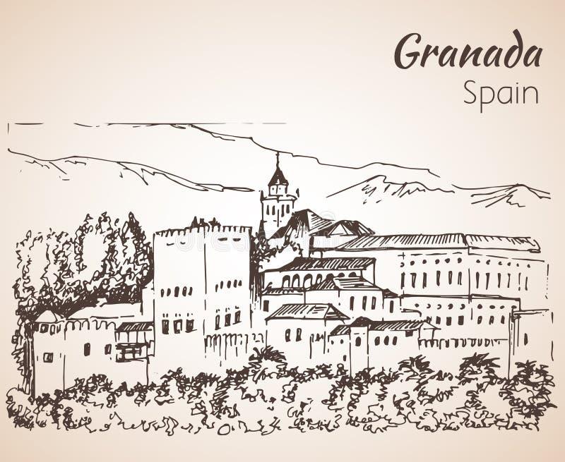 Panoramiczny widok Alhambra z sierra Nevada w backgro royalty ilustracja