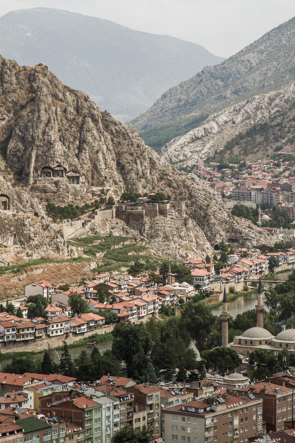 Panoramiczny widok Amasya, Turcja zdjęcie royalty free