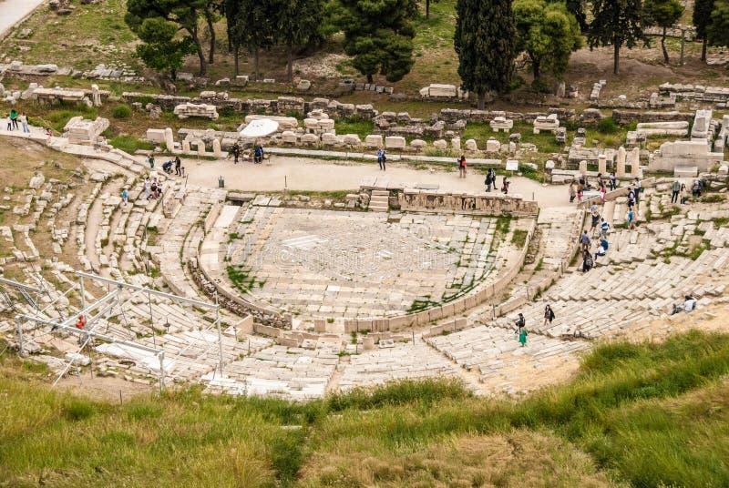 Panoramiczny widok antyczny teatr Dionysus w Ateny Grecja obrazy royalty free