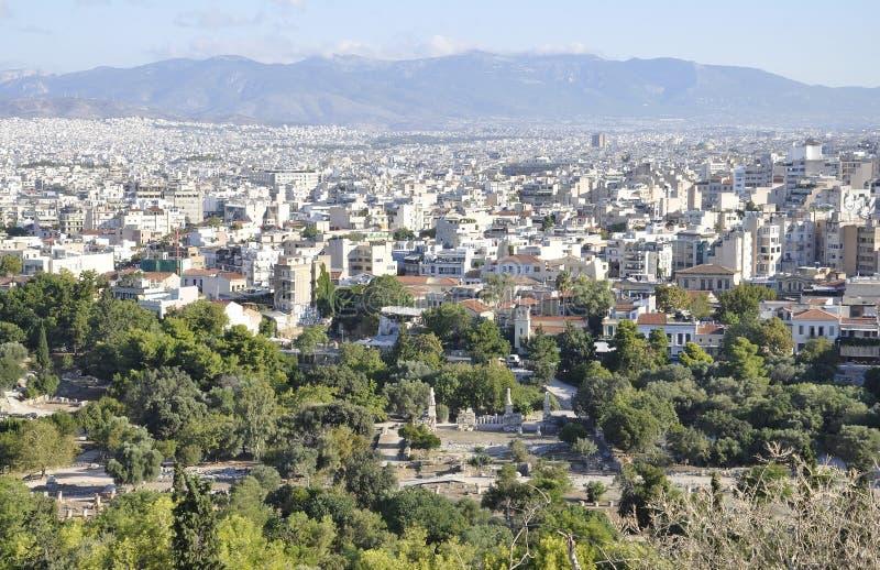 Panoramiczny widok Ateny od areopagu wzgórza w Grecja zdjęcia royalty free