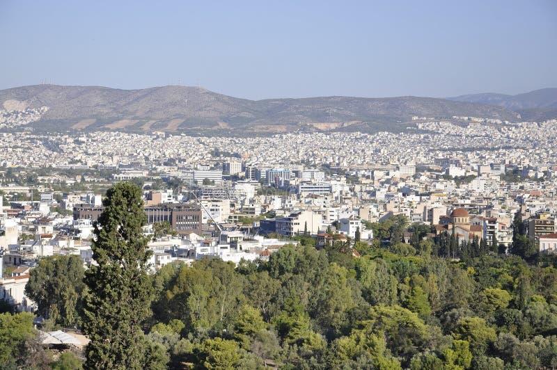 Panoramiczny widok Ateny od areopagu wzgórza w Grecja obrazy stock