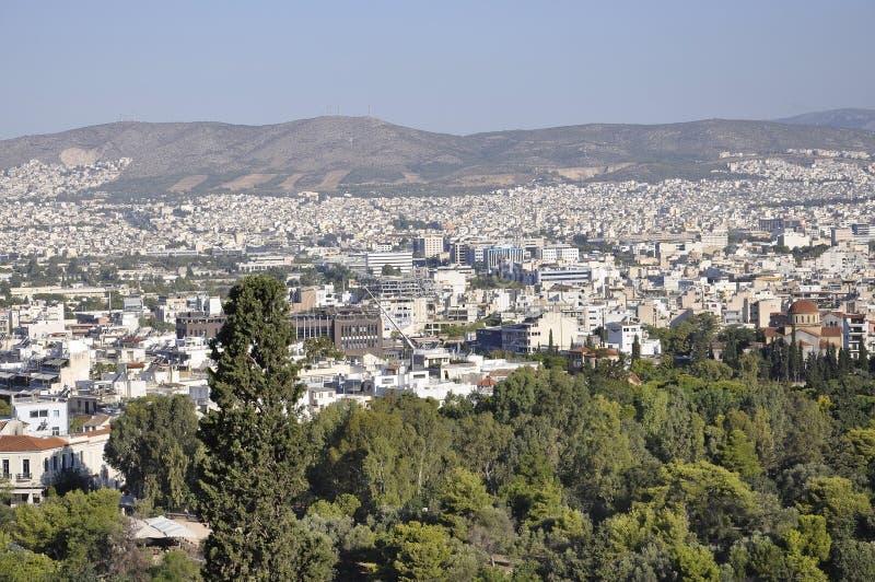 Panoramiczny widok Ateny od areopagu wzgórza w Grecja obraz stock