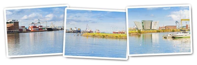 Panoramiczny widok Belfast schronienie z handlowym dokiem i muzeum historia Tytaniczny - pocztówki pojęcie obraz royalty free