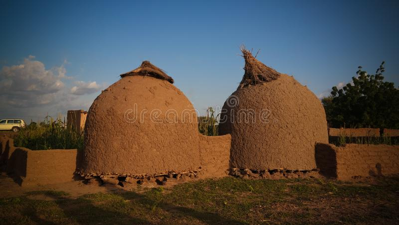 Panoramiczny widok Bkonni wioska Hausa ludzie, Tahoua, Niger fotografia royalty free