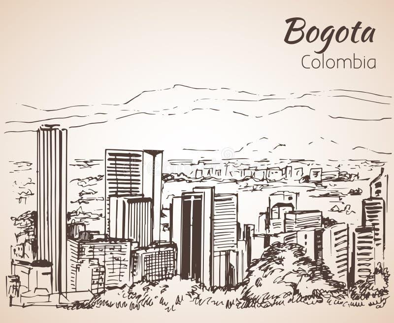 Panoramiczny widok Bogota nakreślenie ilustracja wektor