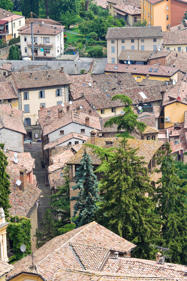 Download Panoramiczny Widok CastellArquato. Emilia. Włochy. Obraz Stock - Obraz złożonej z monumentalny, krajobraz: 28955309