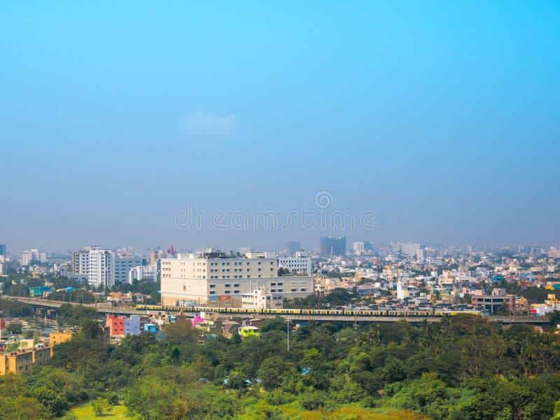 Panoramiczny widok Chennai w letnim dniu, India zdjęcia royalty free