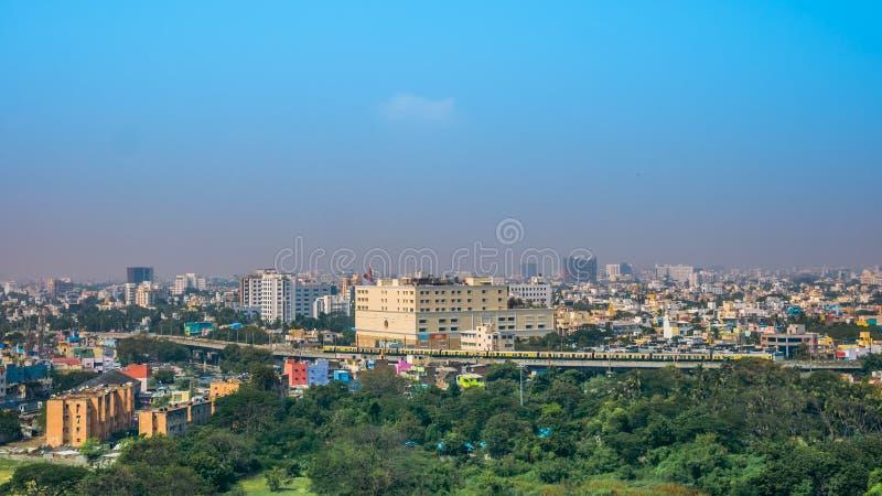 Panoramiczny widok Chennai w letnim dniu, India obraz stock