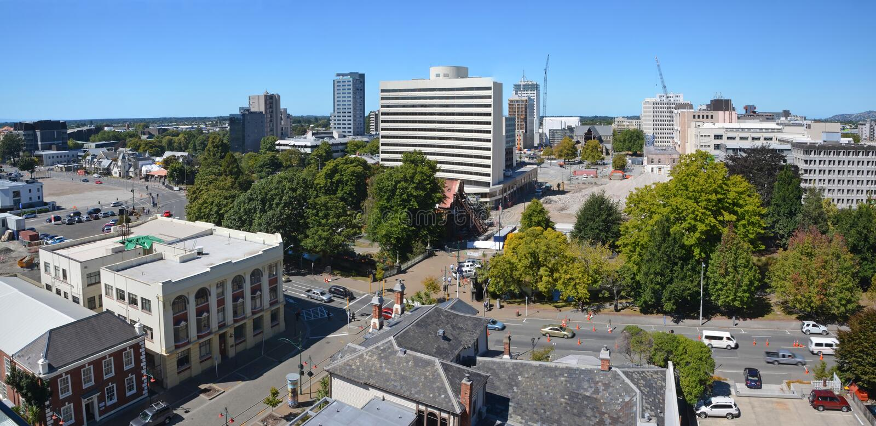 Panoramiczny widok Christchurch miasta linia horyzontu. (Nowa Zelandia) obraz stock