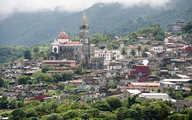 Panoramiczny widok Cuetzalan obrazy stock