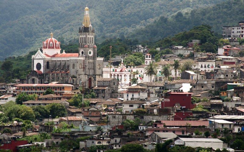 Panoramiczny widok Cuetzalan Del Progreso zdjęcia royalty free