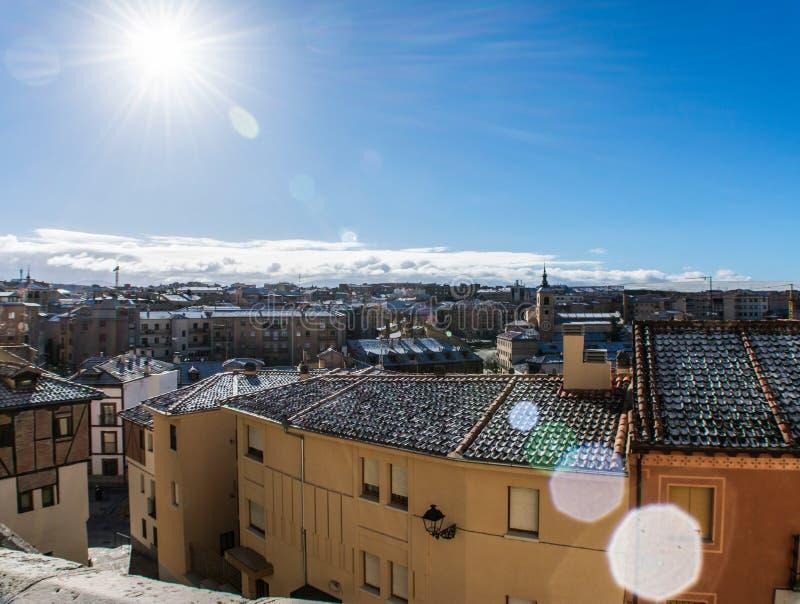 Panoramiczny widok domy w mieście obrazy stock