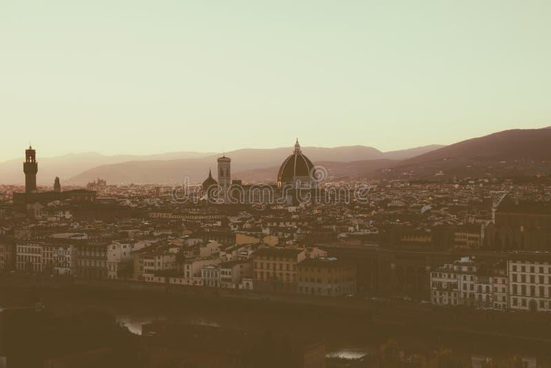 Panoramiczny widok Florencja miasto od Piazzale Michelangelo fotografia stock