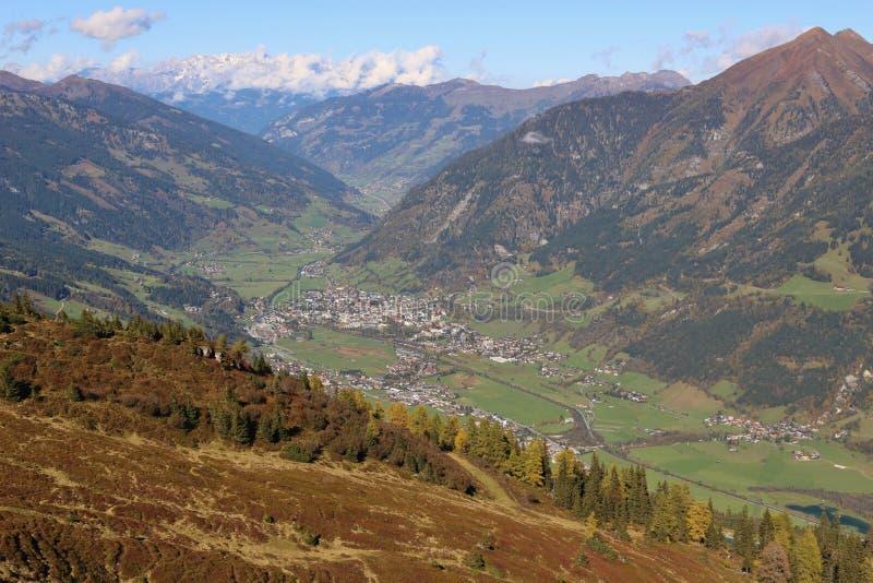 Panoramiczny widok Gastein Hofgastein i góry Austria obrazy royalty free