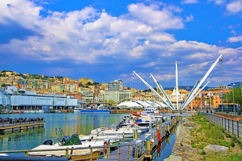 Panoramiczny widok genuy schronienie, genua, Liguria, Włochy fotografia royalty free