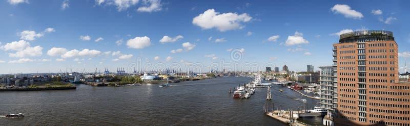 Panoramiczny widok Hamburska miasto linia horyzontu obrazy stock
