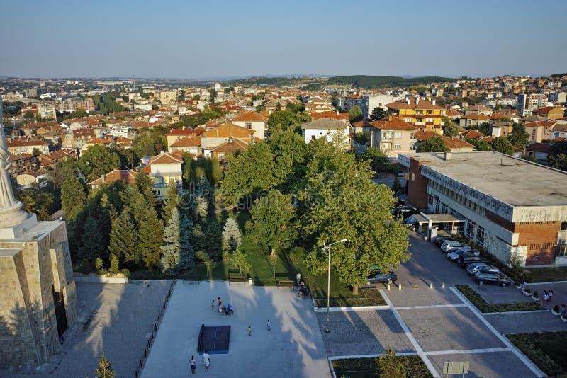 Panoramiczny widok Haskovo od zabytku maryja dziewica, Bułgaria zdjęcia stock