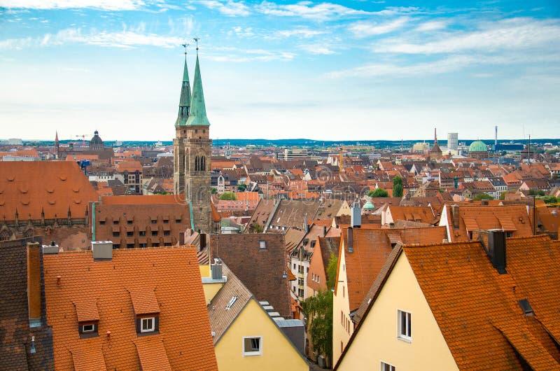 Panoramiczny widok historyczny stary miasto Nuremberg Nurnberg, Germa zdjęcia stock