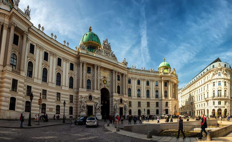 Panoramiczny widok Hofburg kasztel w Wiedeń obraz royalty free