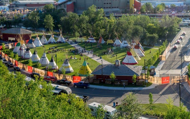 Panoramiczny widok Indiańska wioska przy Calgary paniką obrazy royalty free