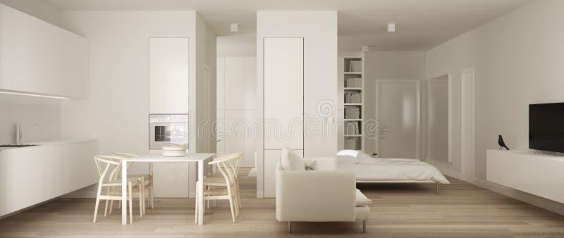 Panoramiczny widok jeden izbowy mieszkanie, minimalistyczna biała mała kuchnia z, parkietową podłogą i łomotać Murphy łóżko stołu ilustracja wektor