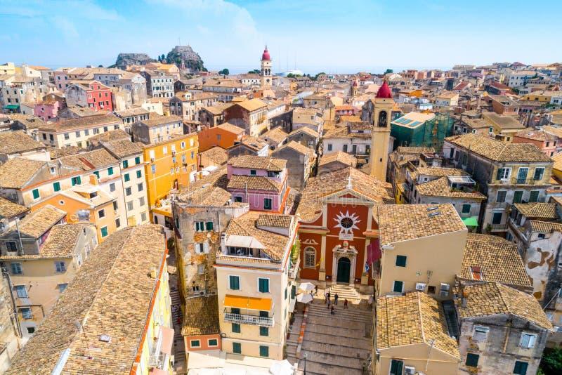 Panoramiczny widok Kerkyra, kapitał Corfu wyspa obrazy stock