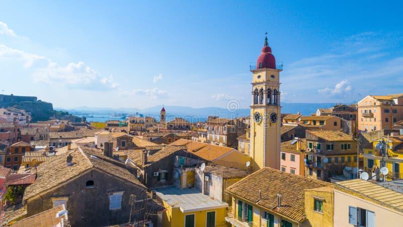 Panoramiczny widok Kerkyra, kapitał Corfu wyspa fotografia stock