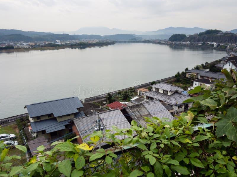 Panoramiczny widok Kitsuki miasto - Oita prefektura, Japonia obraz stock