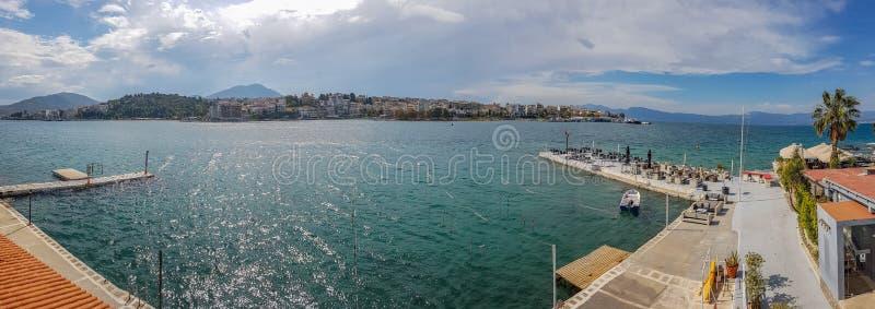 Panoramiczny widok krajobraz Chalcis, Euboea Grecja fotografia royalty free
