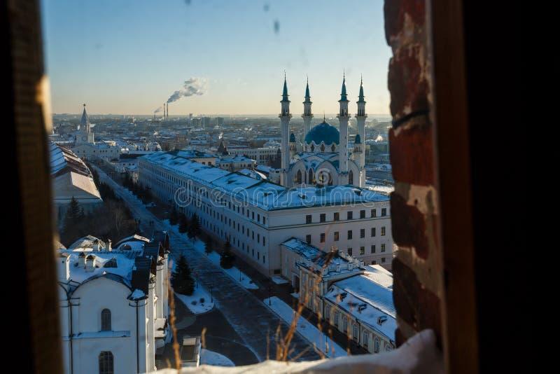 Panoramiczny widok Kula sharif meczet i Annunciation sabor obrazy royalty free