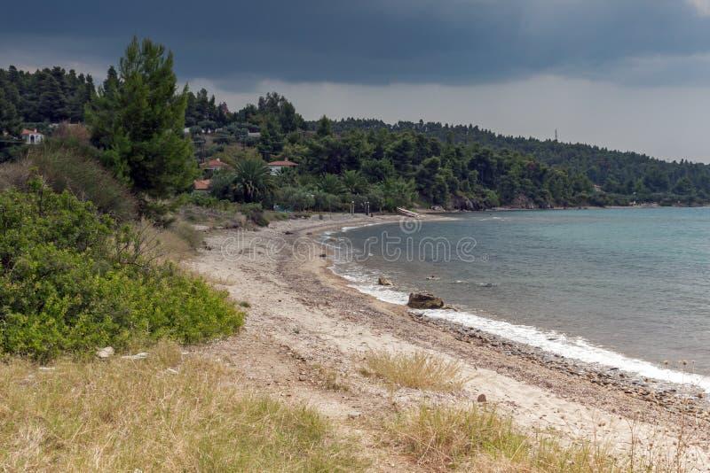 Panoramiczny widok Litheri plaża przy Sithonia półwysepem, Chalkidiki, Środkowy Macedonia, Grecja obrazy royalty free