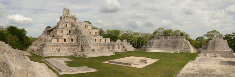 Panoramiczny widok Majscy ostrosłupy Edzna. Jukatan, Campeche. zdjęcia stock