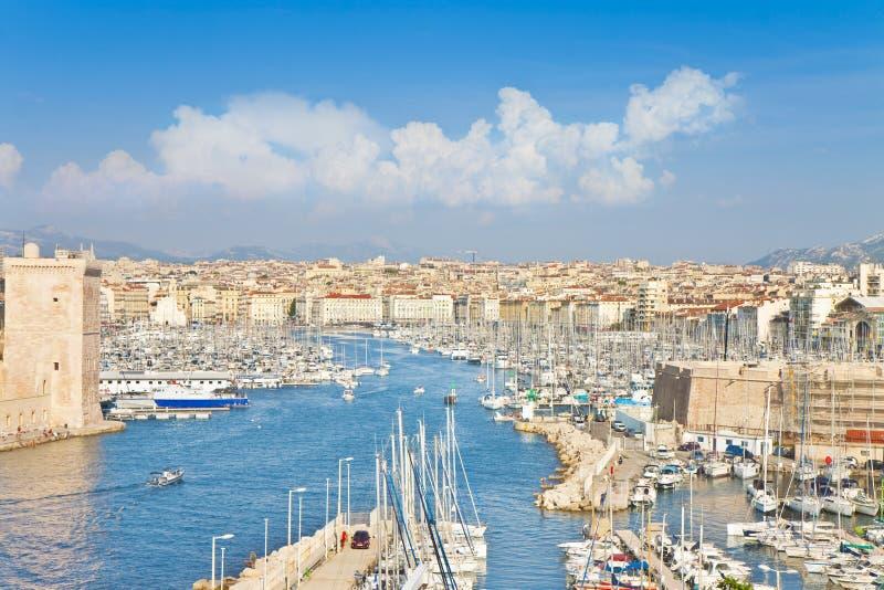 Panoramiczny widok Marseille schronienie Francja obraz royalty free