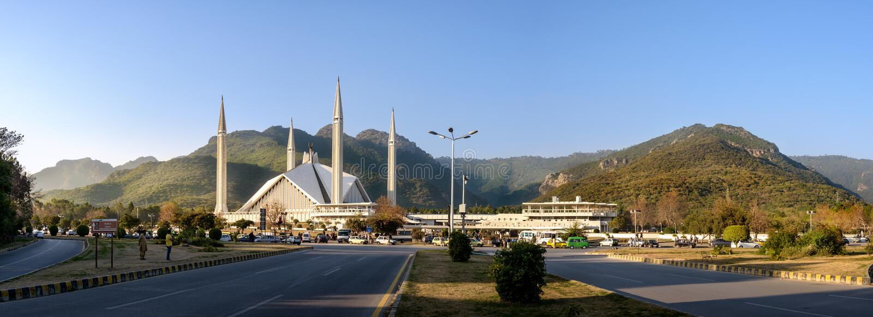 Panoramiczny widok Miły Faisal meczet, Islamabad zdjęcie stock