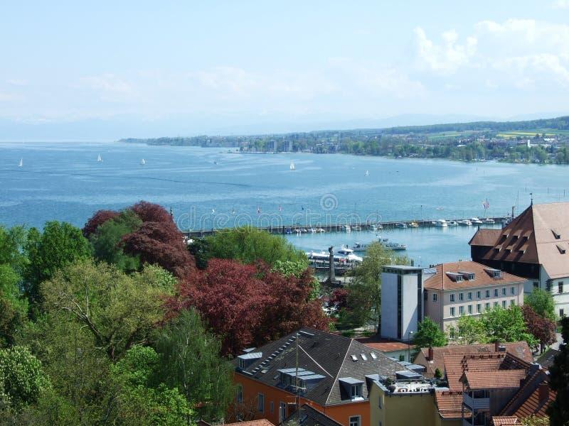 Panoramiczny widok miasto Konstanz, od katedralny wierza zdjęcie royalty free