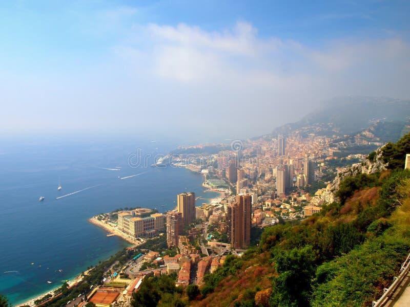 Panoramiczny widok miasto Monte, Carlo i morze śródziemnomorskie -, Monaco obrazy royalty free