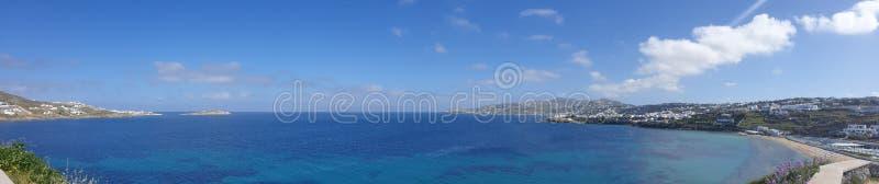 Panoramiczny widok Mikonos Grecja zdjęcie royalty free