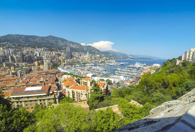 Panoramiczny widok Monte, Carlo miasto -, Cote d ` Azur, Monaco zdjęcia royalty free