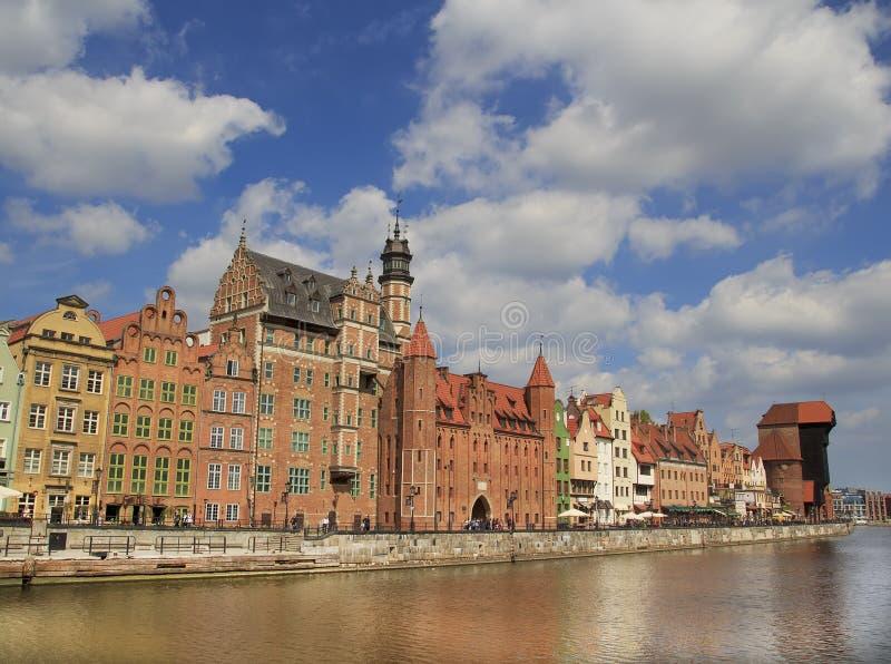 Panoramiczny widok Motlawa wody rzeczne gdansk Polska obrazy stock