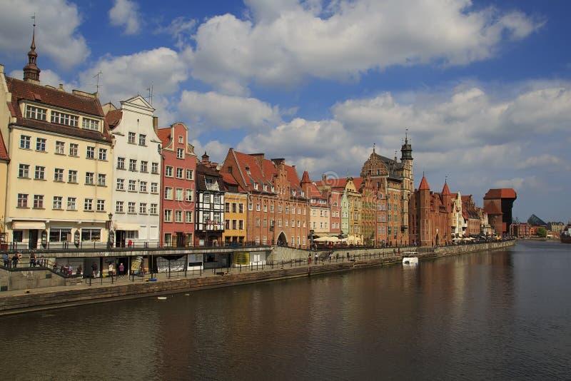Panoramiczny widok Motlawa wody rzeczne gdansk Polska zdjęcie stock