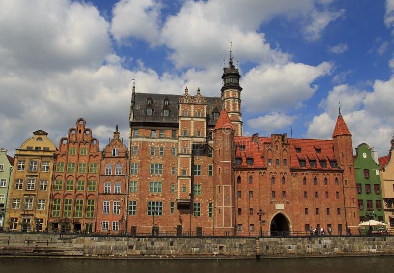 Panoramiczny widok Motlawa wody rzeczne gdansk Polska obraz royalty free