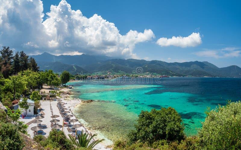 Panoramiczny widok na Limenas Thasou zdjęcia royalty free