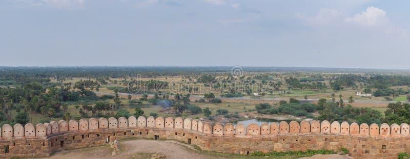 Panoramiczny widok na regionie od Thirumayam fortu obraz royalty free