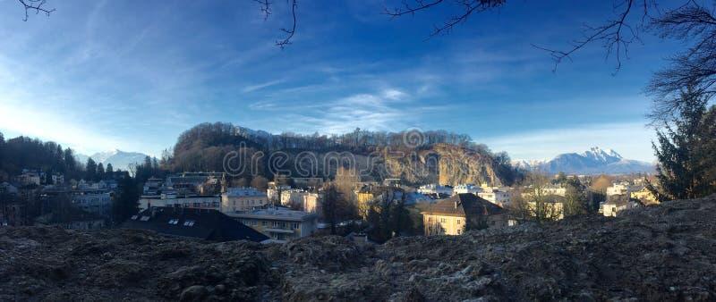 Panoramiczny widok na Salzburg zdjęcia stock