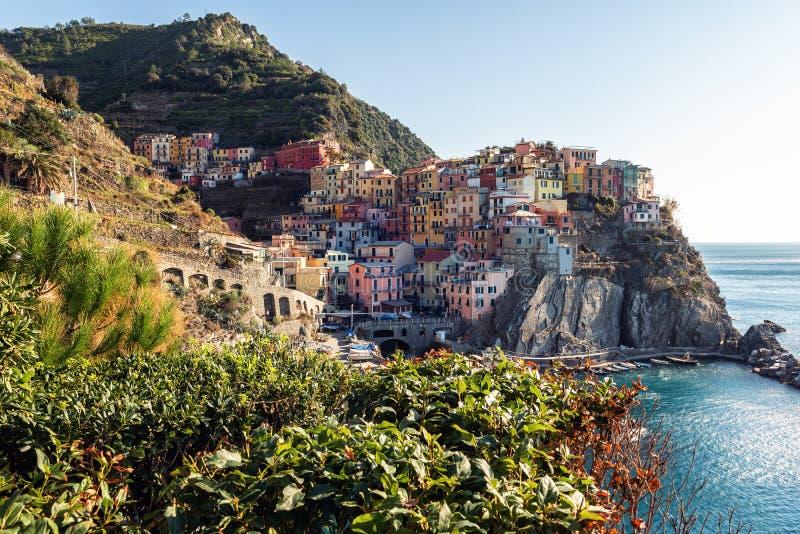 Panoramiczny widok na wiosce Manarola miasteczko, Cinque terre park narodowy, Liguria, Włochy zdjęcia stock