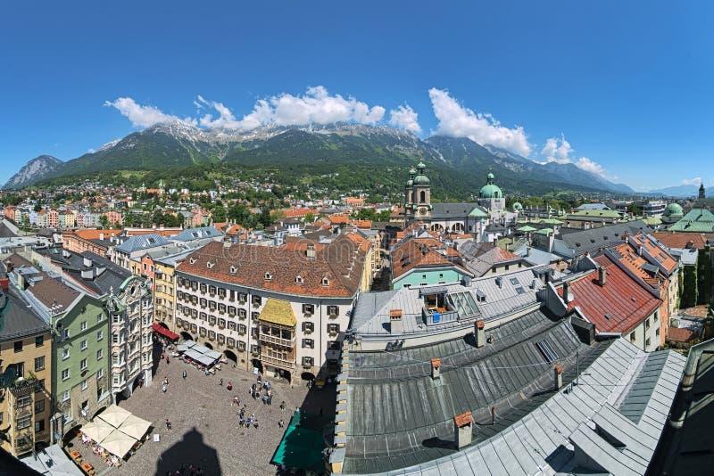 Panoramiczny widok nad Innsbruck, Austria fotografia stock
